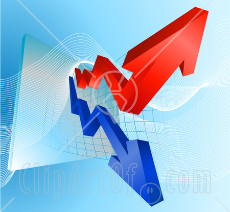 28947-Clipart-Illustration-Of-Blue-And-Red-Profit-And-Loss-Arrows-On-A-Business-Graph